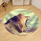 Gzhihine Custom round floor mat Wild African Lion. Vintage Effect. National Park of Kenya Africa