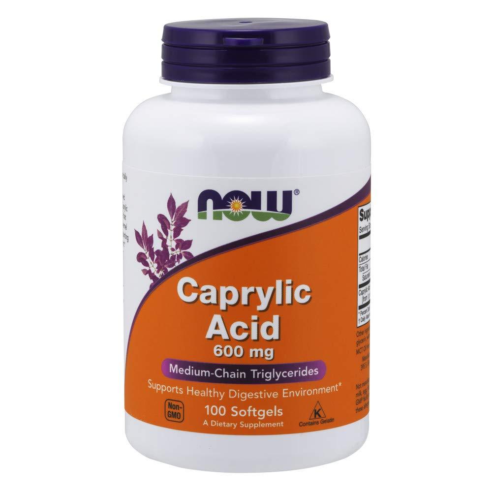NOW Caprylic Acid 600 mg,100 Softgels