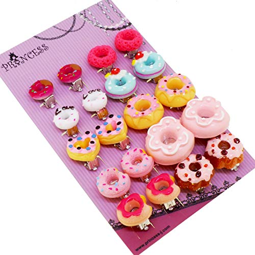 Colorful Cute Doughnut Clip-on Earrings for Teen Girls and Womens