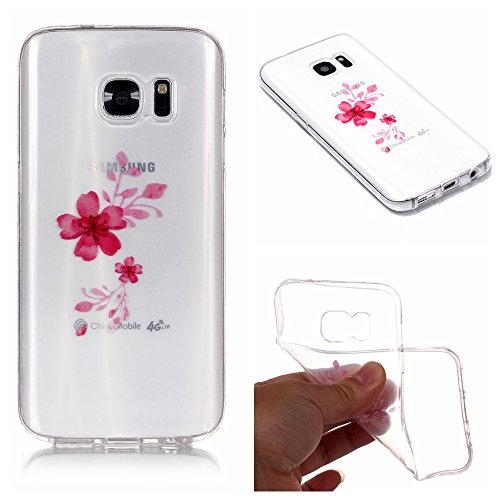 Stysen Galaxy S6 Edge Crystal Clear Case,Galaxy S6 Edge Transparent Cover,Creative Simple Pretty Cherry Flower Series Red Flower Cover for Samsung Galaxy S6 Edge-Red Flower
