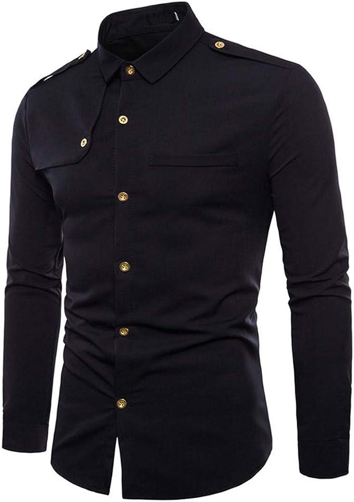Asibeiul Men Autumn Casual Fashion Military Combat Slim Fit Long Sleeve Shirt Lapel Long Sleeve Shirt Top