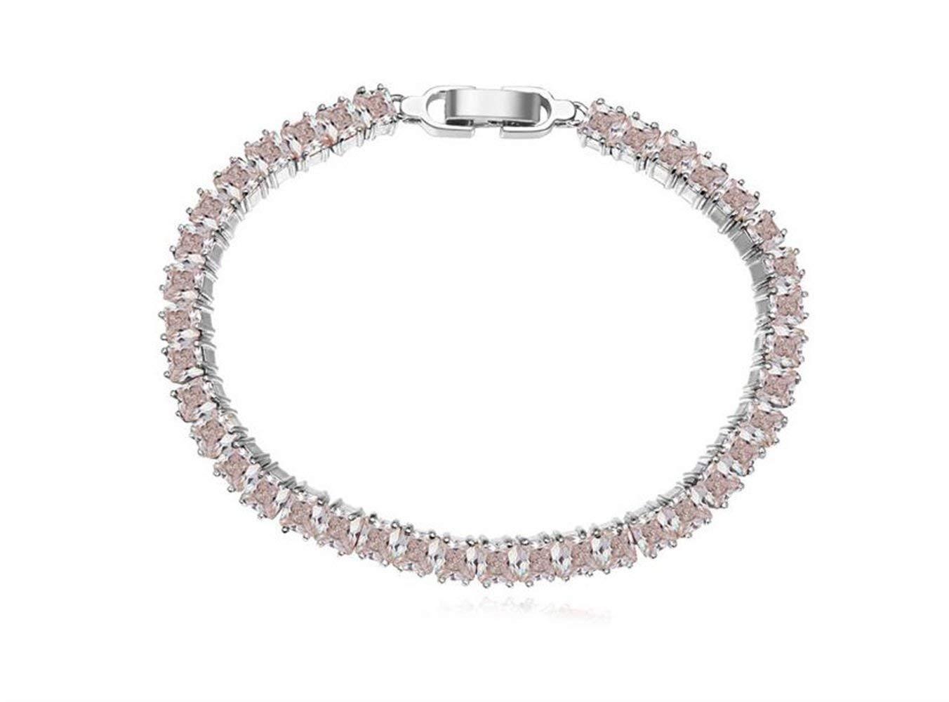 Women Elegant Leng Elegant Pretty Bracelet Extravagance AAA Zircon Bracelet Approx.Length 16cm(White)