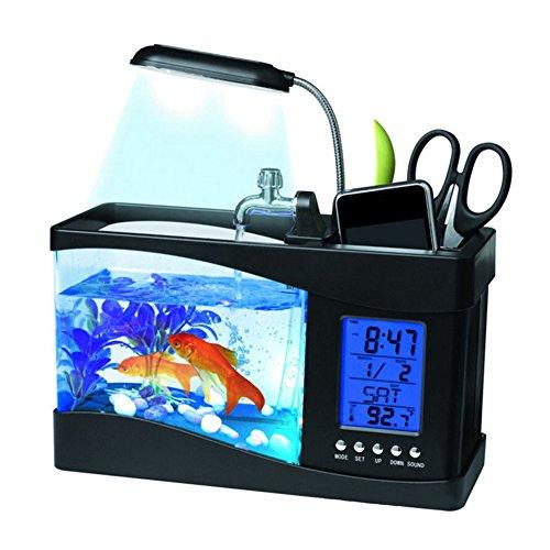 Yunt Fish Bowls Mini Desktop Aquarium USB Fish Tank LCD Desktop Lamp With Clock Alarm Black by Yunt