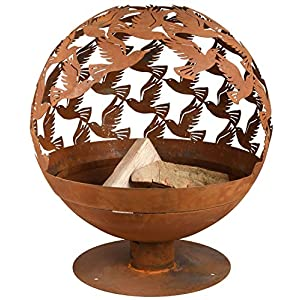 Fallen Fruits Laser Cut Cast Iron Globe Fire Bowl Pit