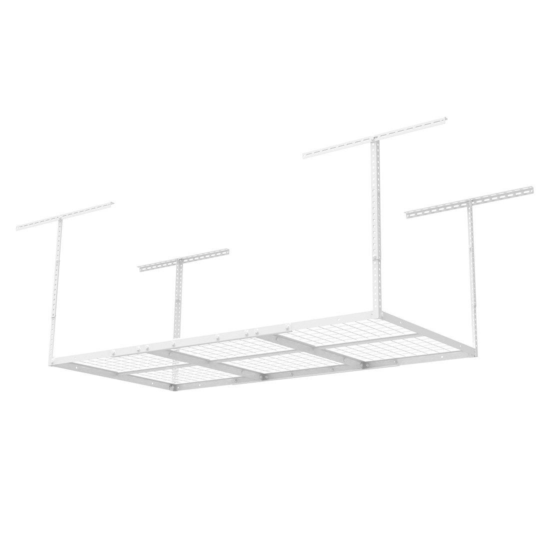 FLEXIMOUNTS (2 pcs) 3x6 Heavy Duty Overhead Garage Adjustable Ceiling Storage Rack, 72'' Length x 36'' Width x 40'' Height (2-rack-package white)