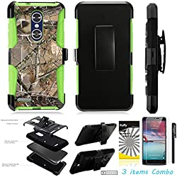For ZTE MAX XL N9560 /3Items [Clear LCD Film]+Stylus Pen+[Impact Resistance] Dual Layer [Belt Clip] Holster Combo [KickStand] Phone Case Tree Camo Leaf - Green