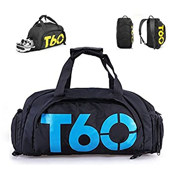 Ducomi 3B1 Gym Bag Duffel Bag Backpack - All in One. Waterproof Nylon with  Large d08bbd1af62c9