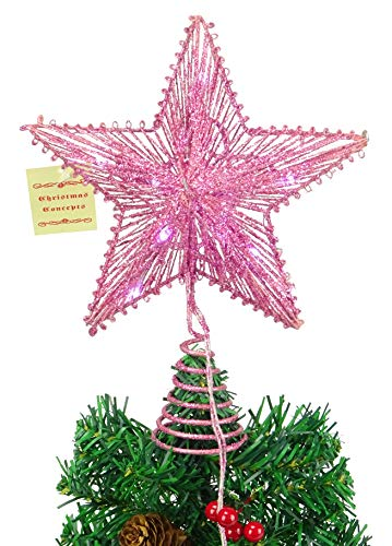 Christmas Concepts 10 Pink Springy Star with Warm White Led Lights - Christmas Tree Top Star/Christmas Decoration