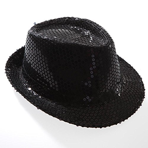 Jacobson Hat Company Women's Sequin Fedora, Black, Adult -