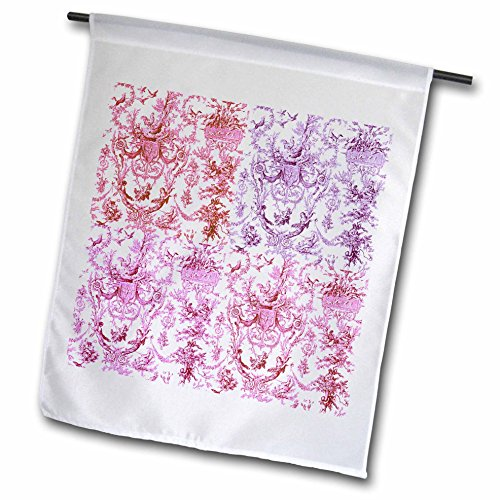 3dRose RinaPiro - French Toile - French Rooster Toile. Presented in Four Colors. Popular Toile Print. - 12 x 18 inch Garden Flag (fl_218098_1)