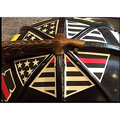 IdentiFire American flag crown of helmet sticker, reflective and photoluminescent (glow in the dark) (Black Thin Red Line)
