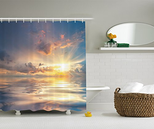 Ambesonne Ocean Decor Collection, Mystic View of Sunset Over Sea with Reflection in Water Majestic Clouds in the Sky Picture, Polyester Fabric Bathroom Shower Curtain, Blue White