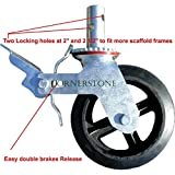 A Set of 4 Wheel 8'' Caster with Cast Iron Hub 1 3/8'' Caster Wheel With 2 Lock-in Brakes Scaffolding Rolling Tower CBM1290