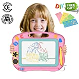 Panshi Erasable Magnetic Doodle Pad, 4 Colors Magnetic Drawing Board with DIY Plastic Stencils,Best of Festival or Birthday Gifts for Kids,Children,Travel Size Learn Creative Toys for Toddlers(Pink)