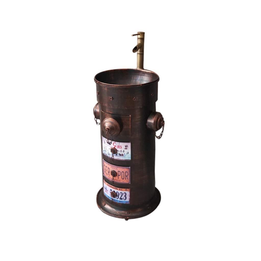 Color : Red copper boca de incendio Estilo industrial retro Metal Arte de hierro Lavabo de pie ZYACHI Lavabo con Grifo