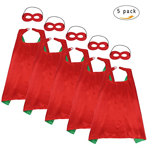 Superheroes Girls Costumes Diy (iROLEWIN Children's Superhero Capes With Mask Set - Boys and Girls Cosplay Fancy Capes - Kids Dress Up Holiday Party (Red-Green))