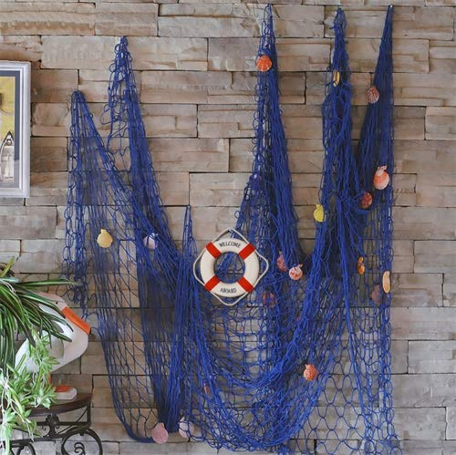 (FLAMMA VENTURES Decorative Fish Net with Bonus Lifebuoy and Seashells, Mediterranean Style Nautical Decor, Blue, 6'7 x 4'11 Large Size (200x150cm), Wall and Home Decor, Party Supplies, Wall)
