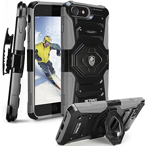 iPhone 7 Case, Metrans 3 in 1 Holster Protective Case 2 Kickstand 4 Air Cushion Soft Silicon & Hard Shell Drop Protection [180 Belt Swivel Clip] Anti-Shock Rugged Case for iPhone 7 (Grey) Anti Shock Protection