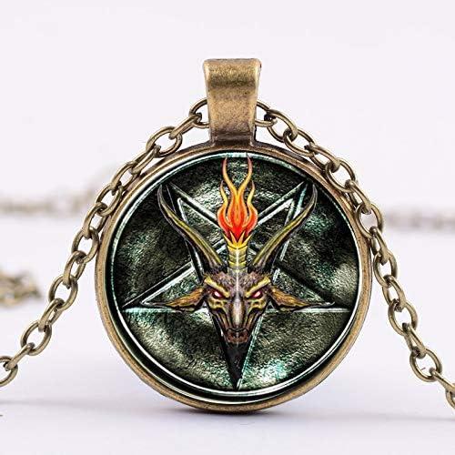 Mens necklace Baphomet Lnverted Pentagram Necklace Goat Head Pendant Glass Dome Baphomet Jewelry Satanism Jewelry Women Men Necklace