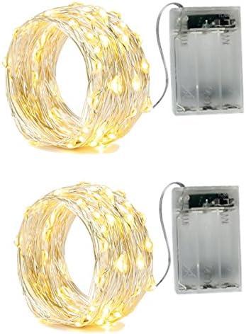 BXROIU 2 X Catena Luminosa Luci Stringa 20LEDs Ghirlanda 2m filo d'argento Batteria Operazione 2 Modalità Flash per Festa/ Matrimonio/ Giardino/ Natale, bianco caldo