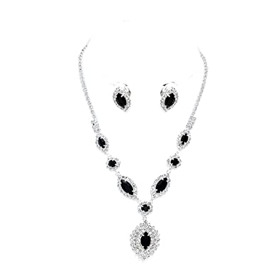 6082a0aae7ba5 Sparkly black diamante necklace set with clip on earrings