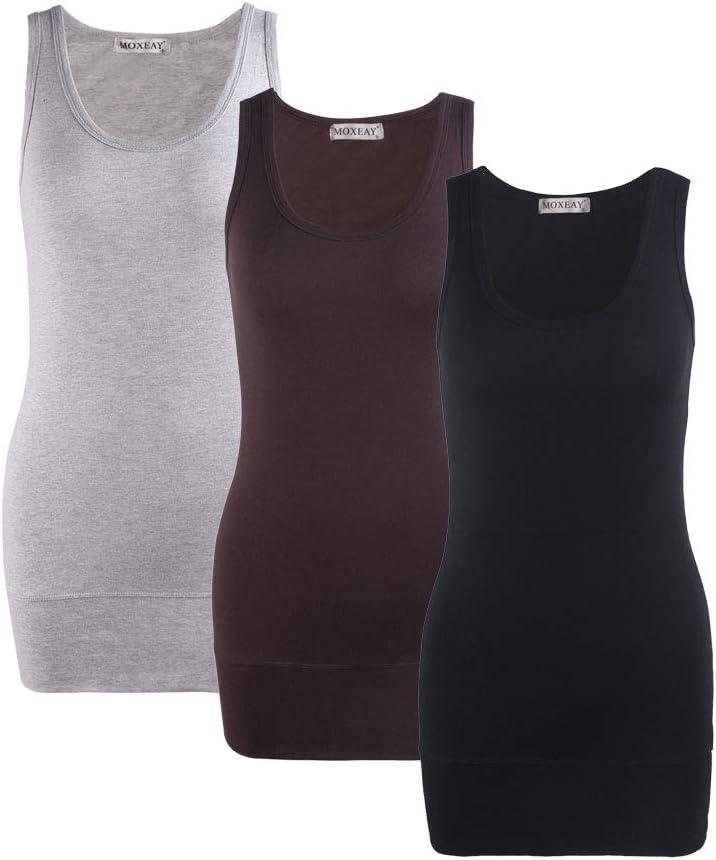 Moxeay Women Scoop Neck Cotton Extra Long Tank Top Vest