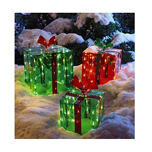 3 Lighted Gift Boxes Christmas Decoration Yard Decor 150 Lights Indoor Outdoor Buyer#039s Choice