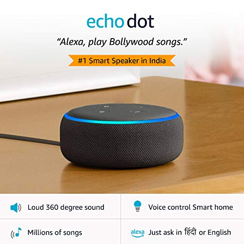 Echo Dot (3rd Gen) – New and improved smart speaker with Alexa (Black)