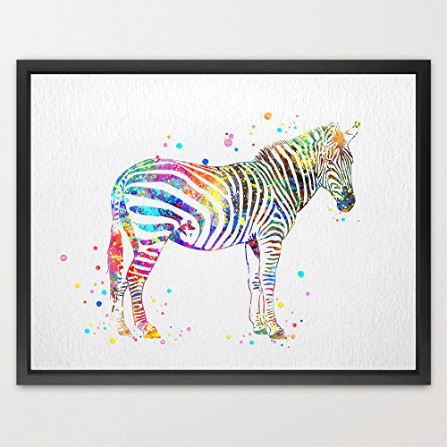 (Dignovel Studios 8X10 Zebra Watercolor Art Print Wall Art Poster Home Decor Wall Hanging Birthday wedding Gift Motivational Inspirational Animal Wildlife N368)