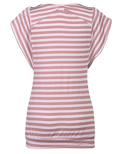 Hersife Womens Stripy Top Short Sleeve Tunics Striped Banded Bottom Shirts Pink by Hersife (Image #2)
