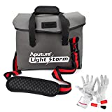 Aputure Waterproof Canvas Shoulder Messenger Bag with Reinforced Rubber Corners and Padded Shoulder Strap for Aputure Light Storm LS1s LS1c LS1/2W LED Light Panel - Comes with PERGEAR Cleaning Kit