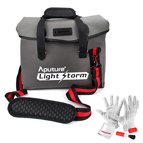 Aputure Waterproof Canvas Shoulder Messenger Bag with Reinforced Rubber Corners and Padded Shoulder Strap for Aputure Light Storm LS1s LS1c LS1/2W LED Light Panel - Comes with PERGEAR Cleaning Kit by Aputure
