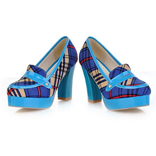 VogueZone009 Womens Closed Round Toe High Heel Platform Fabric Soft Material Assorted Colors Pumps Blue