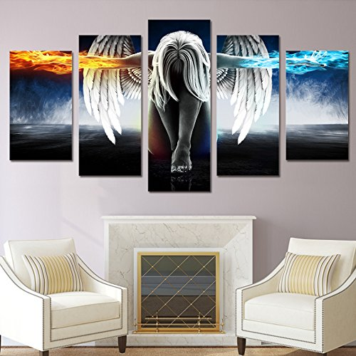 Angels Stretched Canvas - PEACOCK JEWELS [Large] Premium Quality Canvas Printed Wall Art Poster 5 Pieces / 5 Pannel Wall Decor Angel with Wings Painting, Home Decor Pictures - Stretched