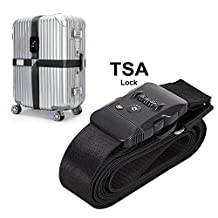 TSA Travel Luggage Strap with 3 Dial Approved Lock, Adjustable Suitcase Belt Packing Travel Tags for Airport Security