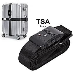 TSA Travel Luggage Strap with 3 Dial Approved Lock, Adjustable Suitcase Belt Packing Travel Tags for Airport Security and Baggage Claim Identification