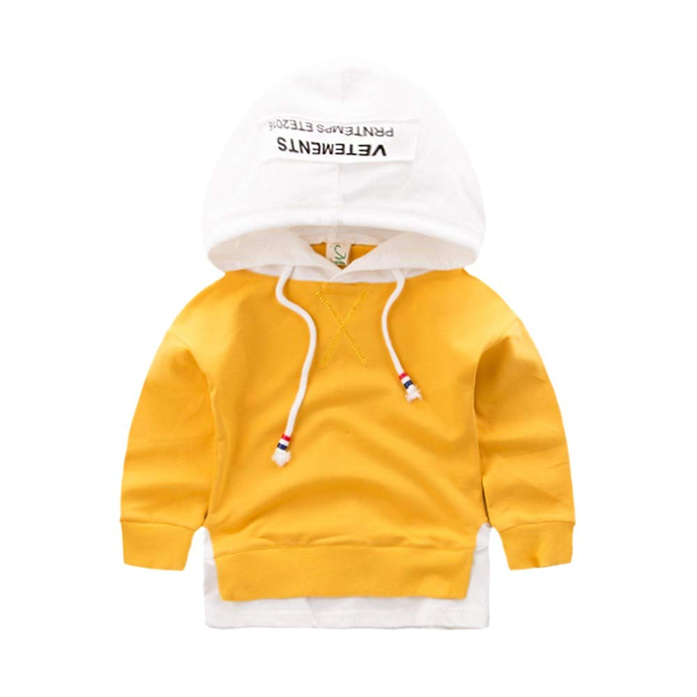 Fartido Children Boys Girls Splicing Letter Print Hooded Pullover Outfits Coat (Yellow, 4 Years)