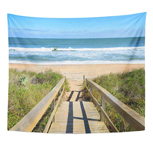 Semtomn Tapestry Artwork Wall Hanging Sea Walkway to Beach Ocean Landscape Nature Seascape Water 60x80 Inches Home Decor Tapestries Mattress Tablecloth Curtain Print]()