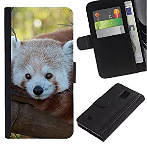 Paccase / Billetera de Cuero Caso del tirón Titular de la tarjeta Carcasa Funda para - Little Red Panda Bear Face Tree Tail Animal - Samsung Galaxy Note 4 SM-N910