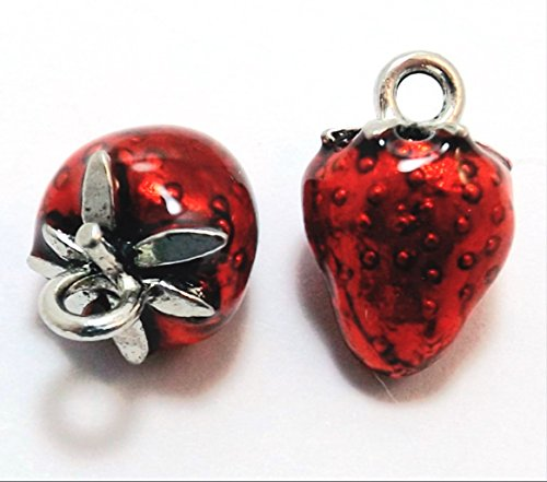 Set of Two (2) Red Enameled Pewter Strawberry Charms ()