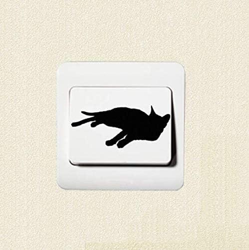 Chi Wall Sticker Gato Silueta Gatito Acostado Interruptor ...