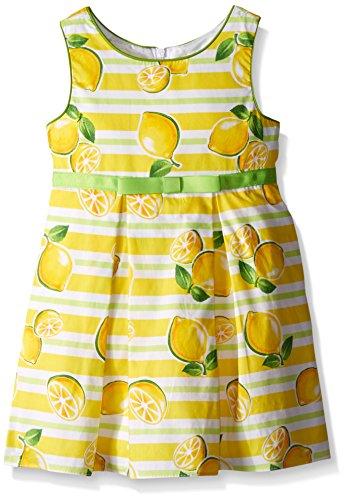 [Sweet Heart Rose Little Girls Lemon Print Poplin Pleated Dress with Green Trim, Yellow/Multi, 6X] (Sweetheart Girl)