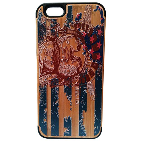 Painted Relief Statue of Liberty Print Natural Bamboo+pc Cell Phone Case Shell Skins Cover for Iphone6 4.7 Inch
