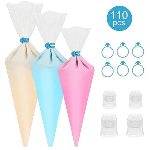 100 bolsas de plástico desechables para pastelería, bolsas de glaseado con 6 bridas para bolsas de glaseado + 4 acopladores para decoración de ...