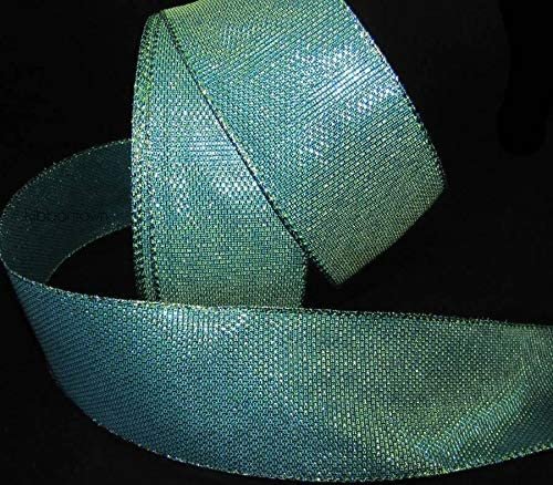 """5 Yds New Peacock Feathers Glitter Accent Blue Green Wired Ribbon 2 1//2/""""W"""