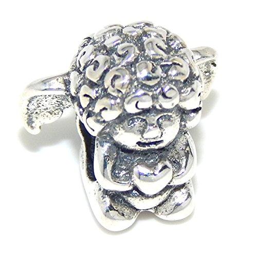 "Pro Jewelry .925 Sterling Silver ""Cherub Angel Holding Heart"" Charm Bead for Snake Chain Charm Bracelets"