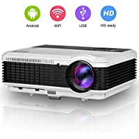 EUG 3600 Lumens WiFi Projector HDMI, Portable Digital Wuxga TV Projectors, Miracast Airplay DLNA Full HD 720p 1080p Ready, for Video Game Movie Home Cinema Theater Outdoor Entertainment