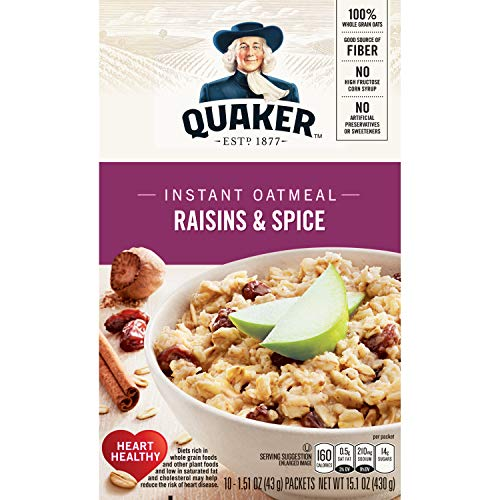 Quaker Instant Oatmeal, Raisin & Spice, Breakfast Cereal, 10 Packets