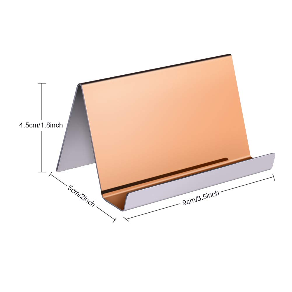 WXJ13 2 Pack Rose Gold Stainless Steel Desktop Display Business Card Holder with 1 Piece Black Cleaning Cloth by WXJ13 (Image #2)