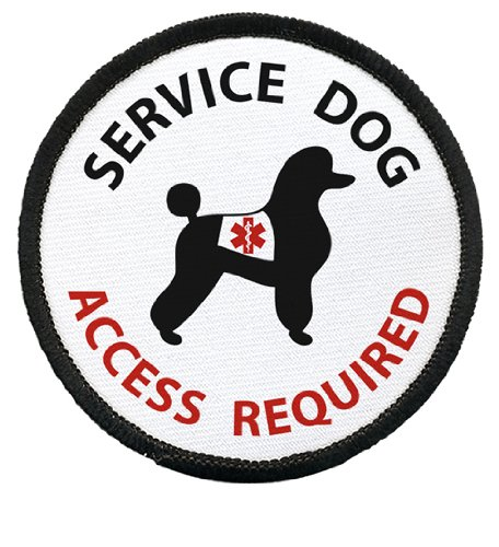 SERVICE DOG Poodle ADA Access Required Medical Alert 2.5 inch Black Rim Sew-on Patch